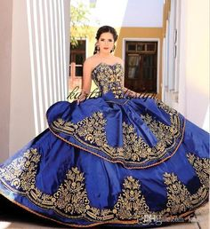 5d3faa1d8d2a Royal Blue Gold Lace Ball Gown Quinceanera Dresses Sweetheart Embroidery  Appliques Beaded Sweet 16 Dresses Sweep