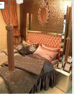 Old Hollywood Glamour Decor | old hollywood glam gold blush interior design tufted mirrored ...