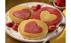 Hot cakes en forma de corazón