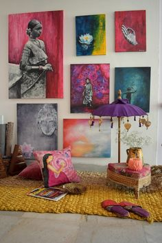 How you can incorporate a lot of art in your space without it feeling overwhelming. All of the wall art you see here is by and in collaboration with Girija Hariharan. Indian Room Decor, Indian Wall Art, Easy Home Decor, Home Decor Bedroom, Indian Home Interior, Traditional Decor, Decor Styles, Diys, Modern