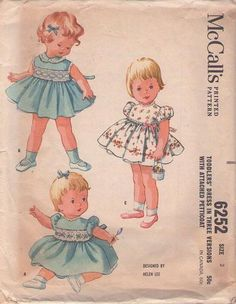 MOMSPatterns Vintage Sewing Patterns - McCall\'s 6252 Vintage 60\'s Sewing Pattern ADORABLE Designer Helen Lee Baby Dress Set, Lace Trim, Puff...