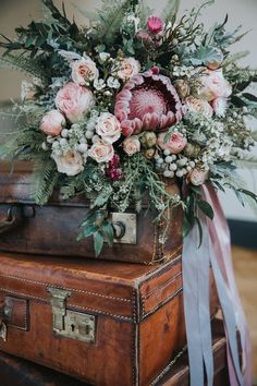Shade Garden Flowers And Decor Ideas Bouquet Flowers Pink Foliage Roses Protea Bride Bridal Ribbons Industrial Into The Wild Greenery Wedding Ideas Protea Wedding, Flower Bouquet Wedding, Floral Wedding, Bouquet Flowers, Protea Flower, Pink Bouquet, Orange Wedding, Into The Wild, Dream Wedding