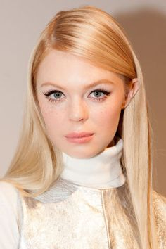 Mod hair and makeup seen on the models at Rachel Zoe's Fall 2015 presentation.