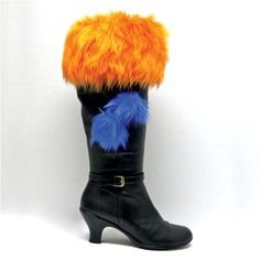 Orange with Blue PomPoms Faux Fur Boot Toppers