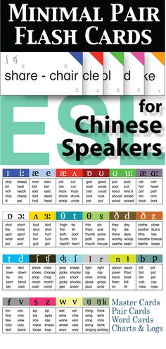 This 22 card set targets the most problematic pronunciation issues for Chinese speakers of English as a second language.