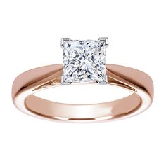 rose gold wedding rings | Rose Gold Princess Cut Wedding Rings: A Great Choice for Every Bride