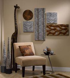 22 Creative DIY Living Room Wall Ideas For Sweet Home Design - sablon Safari Room, Safari Living Rooms, Living Room Decor, Bedroom Decor, Safari Theme, Bedroom Kids, African Living Rooms, African Room, African Art