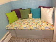 Cover and unused bathtub for extra seating (& storage).