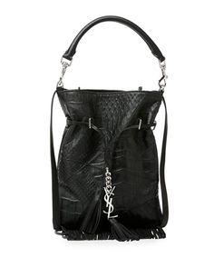 V2K0E Saint Laurent Monogramme Croc-Embossed Tassel Fringe Bucket Bag