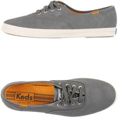 Keds Sneakers ($71) ❤ liked on Polyvore featuring shoes, sneakers, grey, leather shoes, leather sneakers, gray sneakers, flat shoes and round toe sneakers