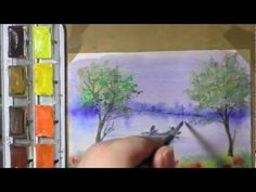Exercice avec un pinceau plat. Voir le cours théorique sur http://www.atelieraquarelle.org/cours/materiels/pinceaux-plat.php Mélangez deux pigments et les dé...