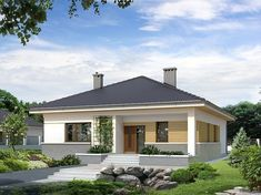 Bungalow Haus Design, Modern Bungalow House, Bungalow House Plans, Barn House Plans, Small House Floor Plans, House Design, Style At Home, One Storey House, Modern Mediterranean Homes