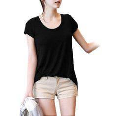 Allegra K Lady Scoop Neck Short Sleeve Irregular Hem Spilt Back Blouse Black S Allegra K. $9.43