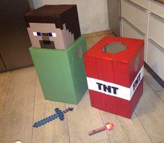 Minecraft costumes - use TNT for treat bucket (halloween) Family Halloween Costumes, Halloween 2015, Holidays Halloween, Halloween Kids, Halloween Crafts, Halloween Decorations, Halloween Party, Minecraft Costumes, Minecraft Party