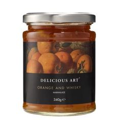 £4.25 - Orange and Whisky Marmalade.This Seville orange and whisky marmalade was winner of the Great Taste Gold Award in 2010. With thick strips of sweet orange peel, bitter orange pulp and whisky, it the perfect partner for a very English breakfast. Alternatively use it to add richness to your cooking or as a tangy addition to your baking.