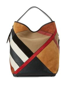 Shop for Ashby Colorblock Check Canvas Hobo Bag, Black Multi by Burberry at  ShopStyle. f736e6d285