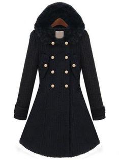 Black Fur Hooded Long Sleeve Buttons Coat - Sheinside.com Mobile Site