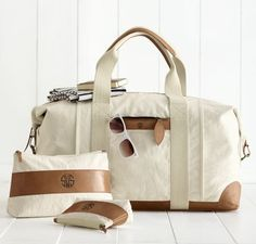 Canvas with Leather Weekender Bag by Mark and Graham