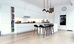 white matt handleless kitchen - Google Search