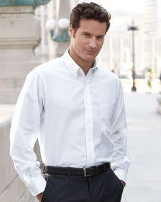 b4ac22f8572 Van Heusen Men s Long Sleeve Cotton Blend Oxford Dress Shirt 13V0040 White  Long Sleeve