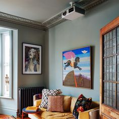 Anna Burns home London Haussmann Architecture, London Living Room, Colored Ceiling, Black Tiles, Parisian Apartment, Living Area, Living Rooms, Step Inside, Bathroom Styling