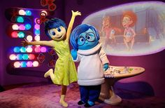 Meet Joy and Sadness Open Now Two of the newest characters appearing in Walt Disney World are Joy and Sadness from the popular Pixar film Inside Out. Find them at the expanded Epcot Character Spot along with Baymax from Big Hero 6 (and, of course, Mickey, Minnie, and Goofy). There are interactive exhibits to keep the kids occupied while they wait to meet and pose with their favorite characters.