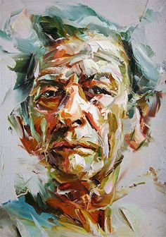 """Whirlwind"" - Paul Wright, oil on board {contemporary figurative expressionist art man head elderly face portrait painting}"