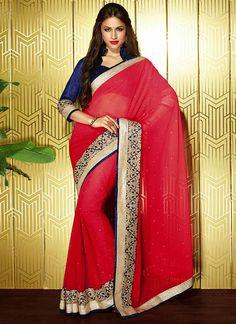 Stunning Red Chiffon Saree
