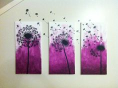 Dandelions painted on canvas