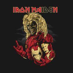 Eddie of Iron maiden in his Iron Man suit. Hard Rock, Geeks, Woodstock, Metallica, Iron Maiden Mascot, Iron Maiden Posters, Rock Bands, Eddie The Head, Metal Health