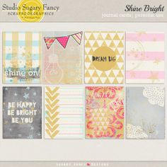Shine Bright Journal Cards by Sugary Fancy at Scrapbookgraphics
