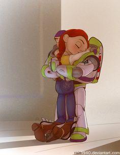 Jessie and Buzz Lightyear - Toy Story. I don't ship this but it's still cute Disney Pixar, Disney Fan Art, Disney E Dreamworks, Deco Disney, Disney Toys, Disney Animation, Disney Movies, Walt Disney, Disney Characters