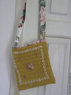 """Купить вязаная сумочка """"Красивые Пуговки"""" желтая - желтый, вязаная сумка, яркая сумка"""