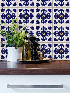 Tile Decals   Tiles For Kitchen/Bathroom Back Splash   Floor Decals    Mexican Cava Vinyl Tile Sticker Pack Color Indigo Blue
