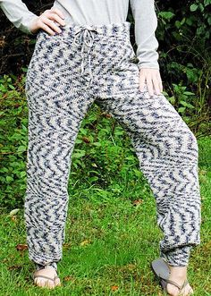 crochet drawstring pants. In anything but the yarn pictured, these might be cute.