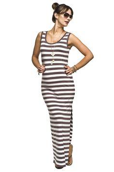 9753be5209b9 Hnědo bílé proužkované těhotenské šaty s rozparkem na léto