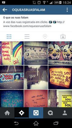 Print do instagram - O que as ruas falam. Com fotografias de espaços urbanos cheios de frases.