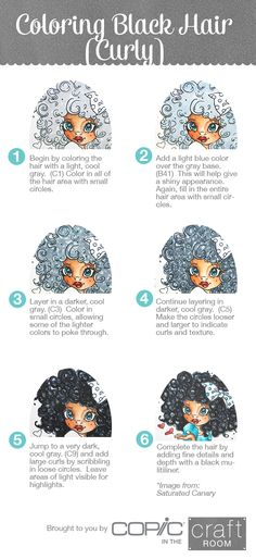 Brought to you by Copic in the Craft Room!  How to Color Curly Black Hair.  Image from Saturated Canary.  Visit us at https://www.facebook.com/copicinthecraftroom