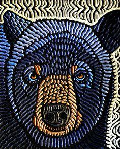 "'Blue Bear' - art by Lisa Brawn, via Flickr;  painted woodcut block on salvaged Douglas fir,  9"" x 11.25"""