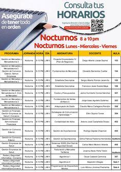 Horarios para estudiantes de Semana Nocturnos