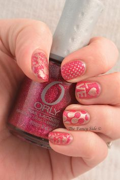 Orly Miss Conduct stamped with China Glaze Passion