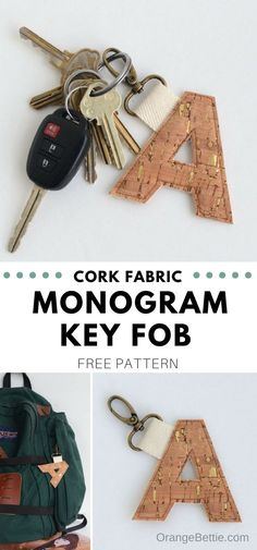 Cork Fabric Monogram Key Fob - Perfect for keychains or backpacks!