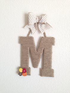 Monogram Jute Initial Letter Wreath  with Burlap Flowers and Chevron Burlap Bow