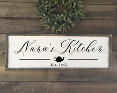 Excited to share this item from my shop: Custom kitchen sign, Nana's kitchen, framed shiplap kitchen sign Wood Wedding Signs, Wood Signs, Pantry Sign, Rustic Chair, Grey Stain, Condo Living, Kitchen Pictures, Kitchen Signs, Home Decor Signs