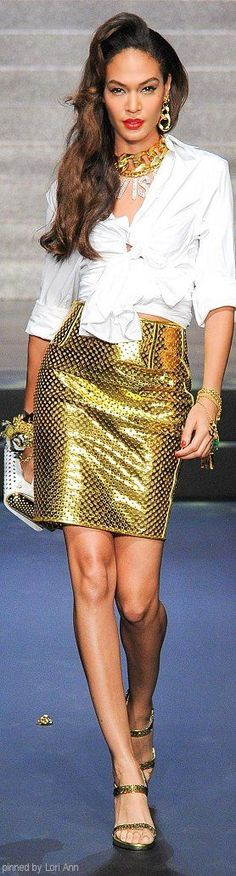 Jean Paul Gaultier Spring 2015 golden skirt white shirt @roressclothes closet ideas women fashion outfit clothing style