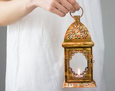 Vintage Moroccan Lantern Tealight Candle Holder Orange Gold Rustic Home Decor Wedding by OpenVintageShutters