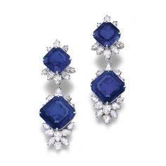 Highly Important Pair of octagonal step-cut sapphire and diamond pendent earrings, Harry Winston, circa 1975