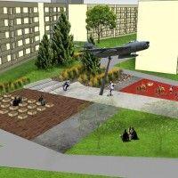 Jest wstępna koncepcja zagospodarowania przestrzennego otoczenia samolotu MIG - 17 na osiedlu Pułanki.