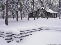 Rustic Cabin in Winter, Brown County State Park, Indiana