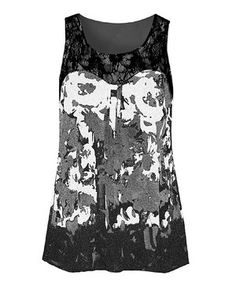 fc332d2d378 Black   White Abstract Lace Tank - Plus. Look at this Dex ...